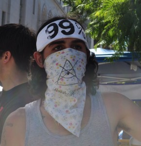 An Occupy Los Angeles protestor.