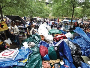 Trash in Zuccotti Park.