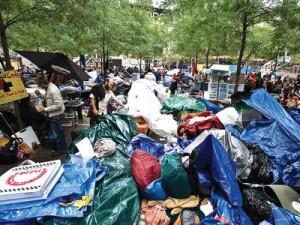 Trash in Zuccotti Park.
